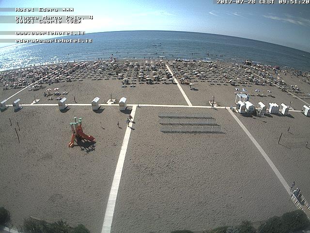 Caorle Webcam Hotel Edera spiaggia di ponente